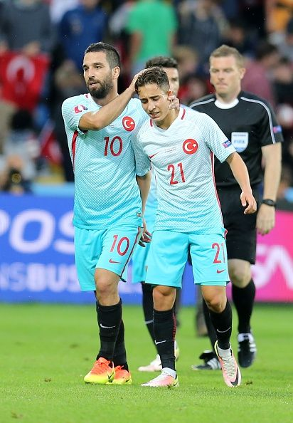 #EURO2016 Arda Turan and Emre Mor of Turkey are seen during the UEFA EURO 2016 Group D match between Czech Republic and Turkey at Stade BollaertDelelis in Lens...
