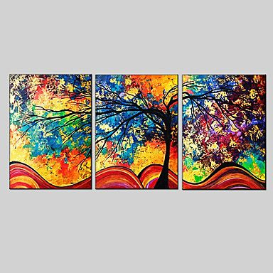 Oil Painting Set of 3 Modern Abstract,Canvas Material with Stretched Frame Ready To Hang SIZE:50*70CM*3PCS . – GBP £ 35.17