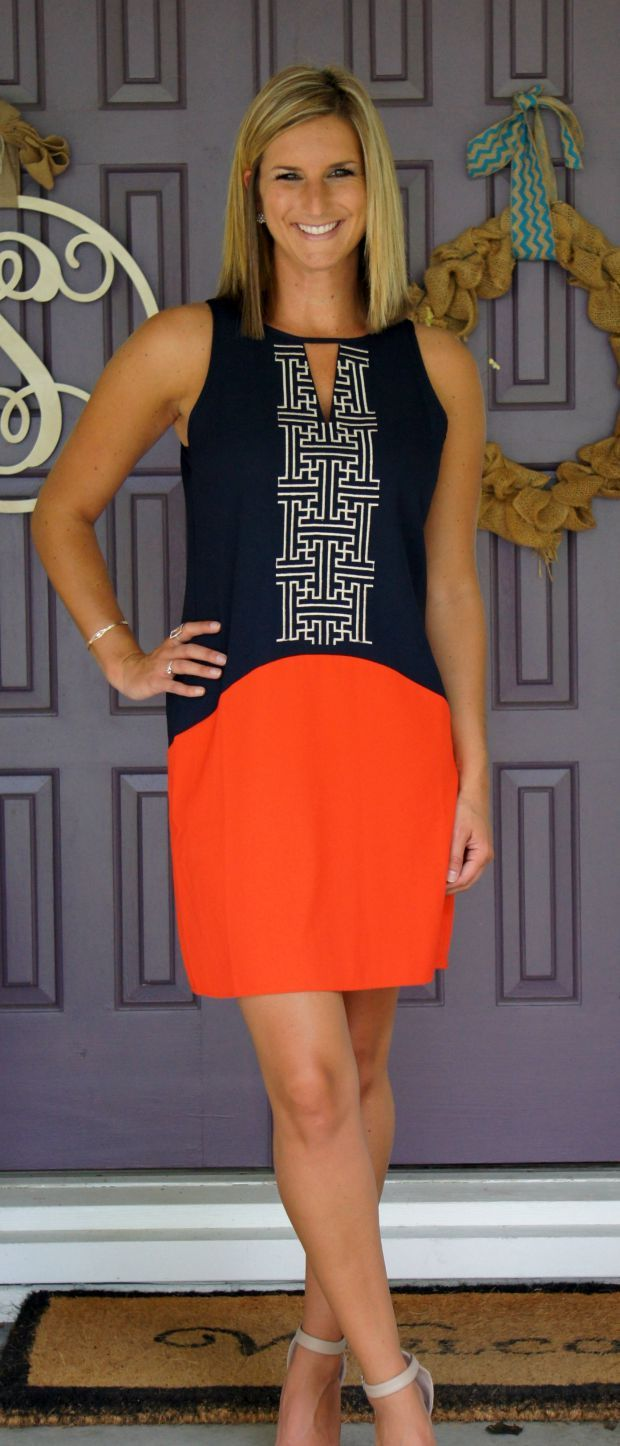 THML Abriana geo shift dress! Love navy & orange!! Not sure how it would fit since I'm petite?