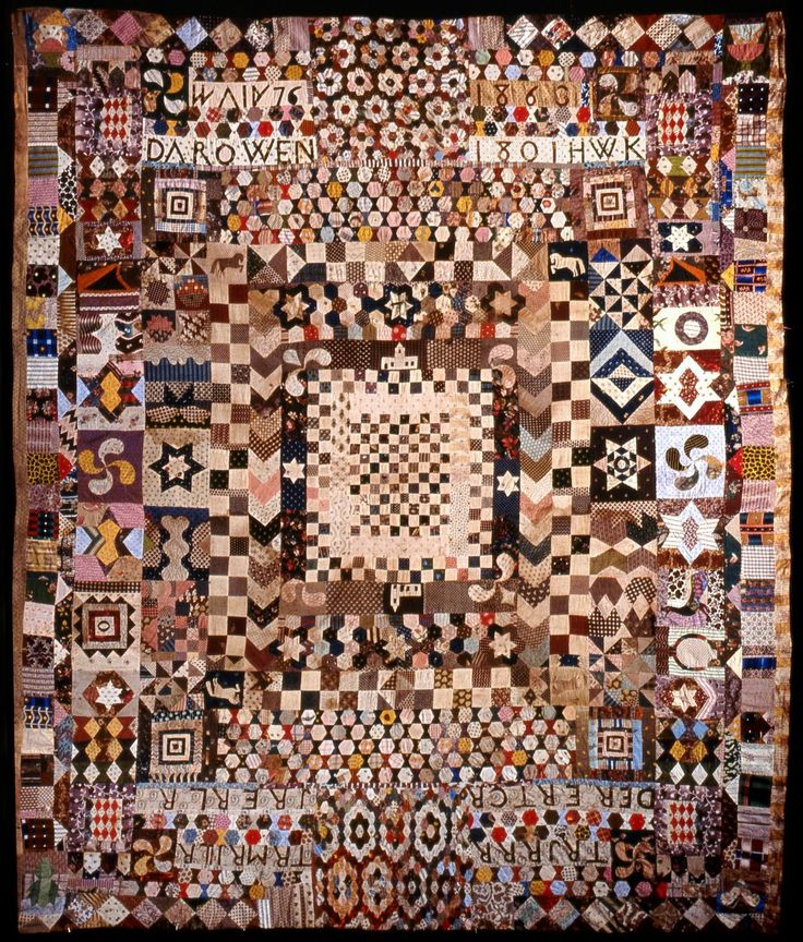 Little Welsh Quilts and other Traditions: The Darowen Coverlet. Quilt was made by three sisters and charts their family history in the village from 1801-1877.