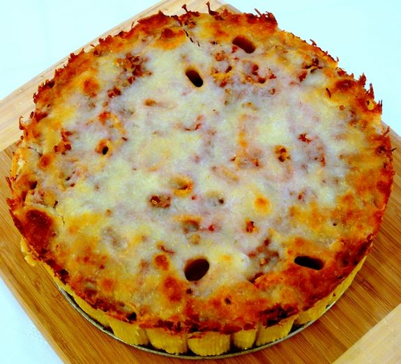 Yummy looking pasta pie. Substitute ground Italian sausage or ground turkey