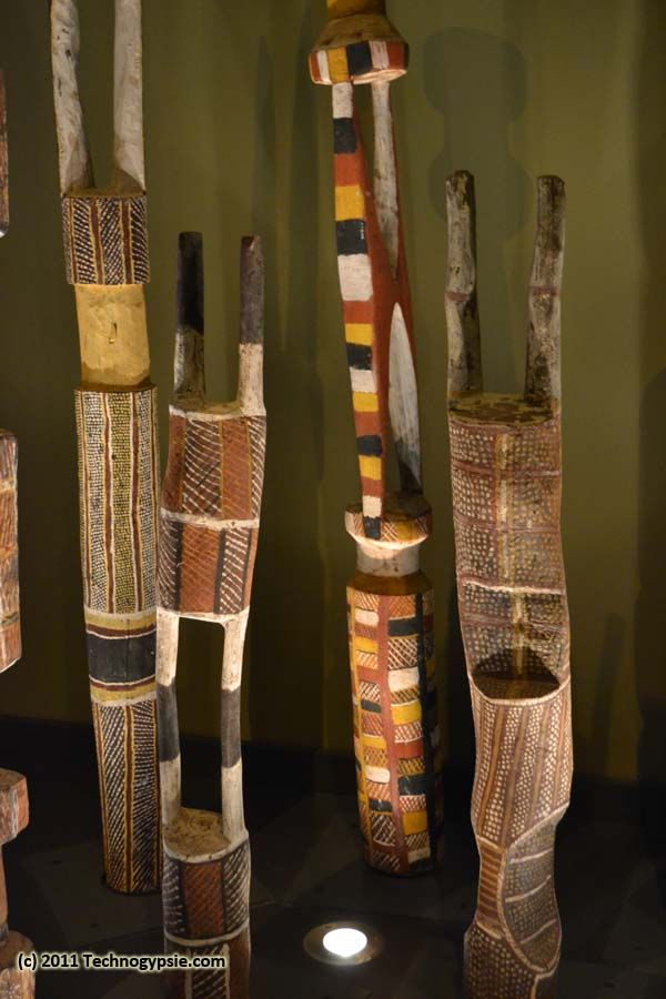 """These are called """"Pukamani Poles"""" and represent individual people who have passed away incorporating a mourning process into their state of being from their birth, life, death, and rebirth. Australian Aboriginal."""