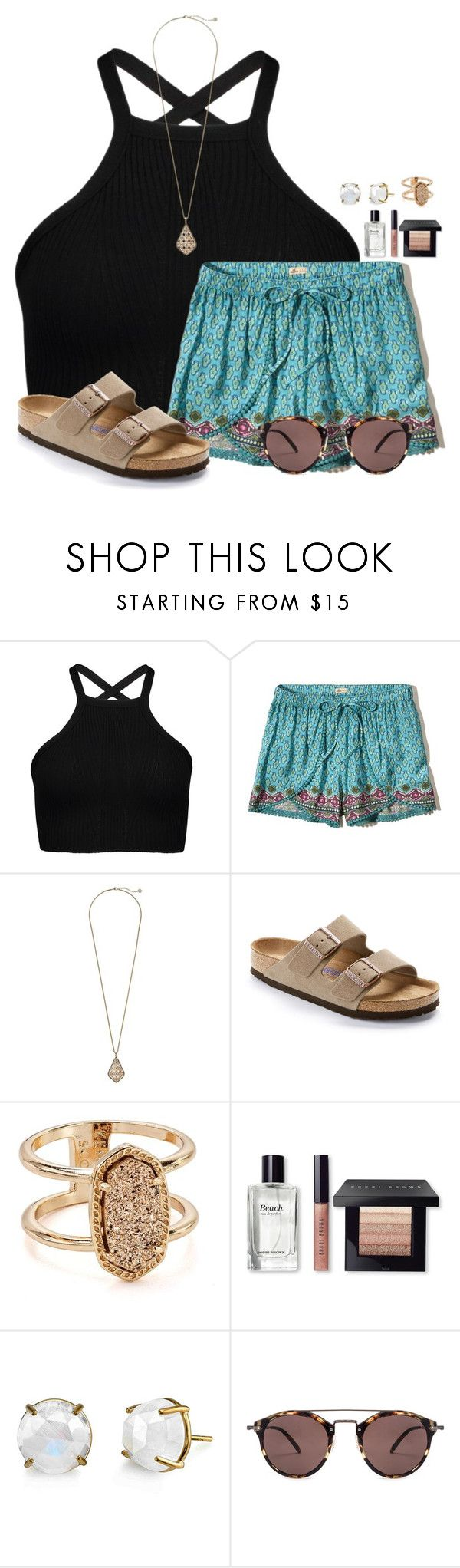"""""""~Boho~"""" by victoriaann34 on Polyvore featuring Hollister Co., Kendra Scott, Birkenstock, Bobbi Brown Cosmetics, Irene Neuwirth and Oliver Peoples"""