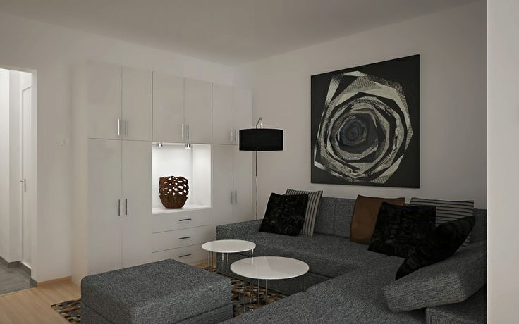 Urban sophistication - project by interiordelight.ro. I would describe this design as a chic bachelor crib of a metro-sexual. Sleek, white furniture, a generous lounge area and glossy surfaces create a stylish interior that looks fashionable and sophisticated, despite its small size.