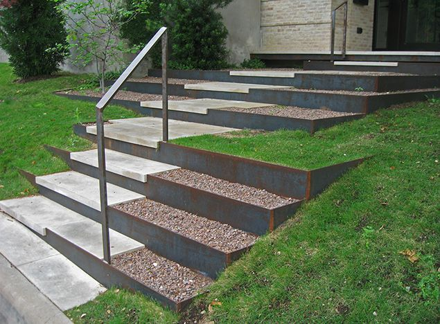 concrete paver steps and corten - Google Search