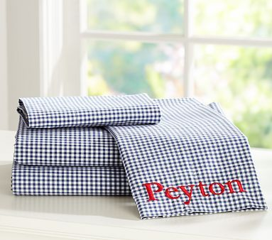 navy gingham sheets sewn together to make a duvet cover