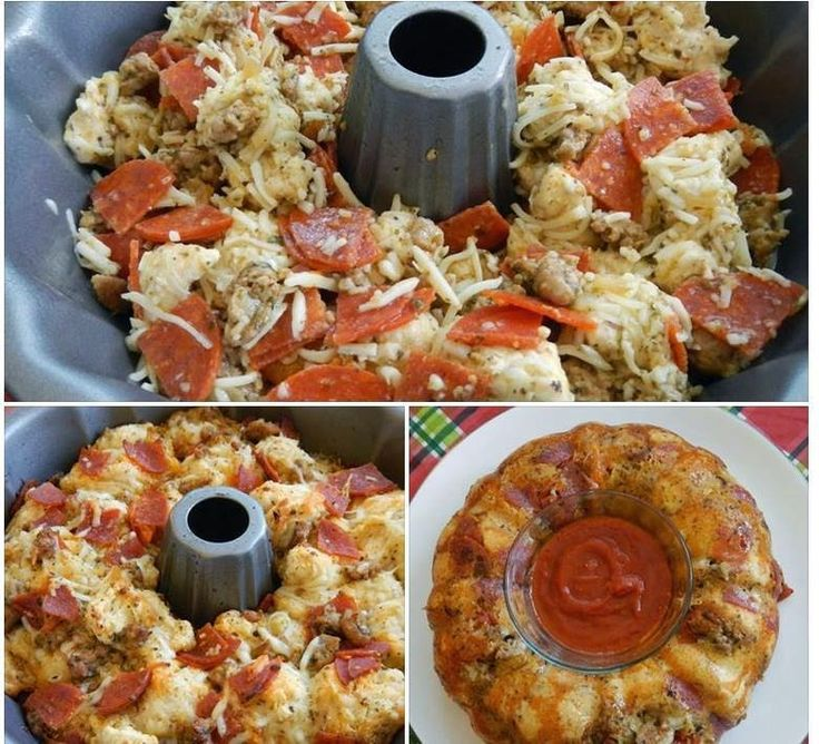 2 cans of Pillsbury pizza dough (or Grand biscuits) 2 c shredded Mozzarella cheese 1/2 tbsp. basil & of dried oregano & minced garlic 1/3 cup olive oil *1 package pepperoni, quartered *1 c Parmesan Preheat 350. Spray Bundt pan. Quarter dough & add all in a bowl & toss so that the oil is spread evenly. Bake 30 min. If the middle not cooked thoroughly, another 5 min at a time until done. Remove & let rest 5 min. Flip on to a plate & serve with marinara/pizza sauce dipping.