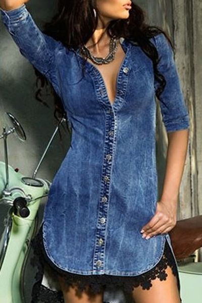 Yes it's denim, but it still looks so well executed and clean :: Half Sleeve Single-Breasted Denim Dress