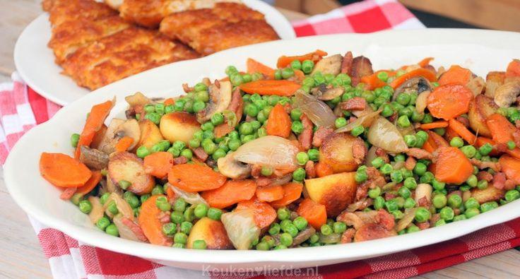 Deze weldadige bonne femme schotel is mijn favoriete bijgerecht die ik serveer bij een hele gebraden kip uit de oven, of een krokant gebakken kipschnitzel.