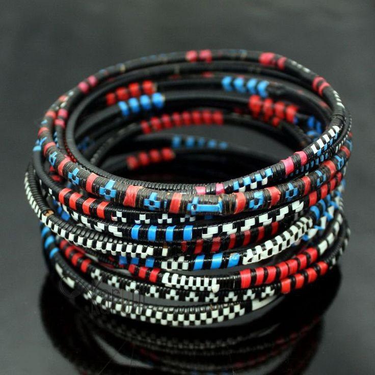Bijoux Ethniques Bracelets Africains Fin Plastique Homme/Femme/Enfant Lot 6 ou 12 Bleu/Rouge Bracelet Africain