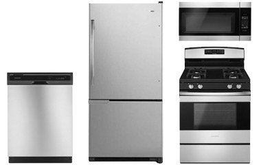 Amana Stainless Steel Bottom Freezer Refrigerator with Gas Range