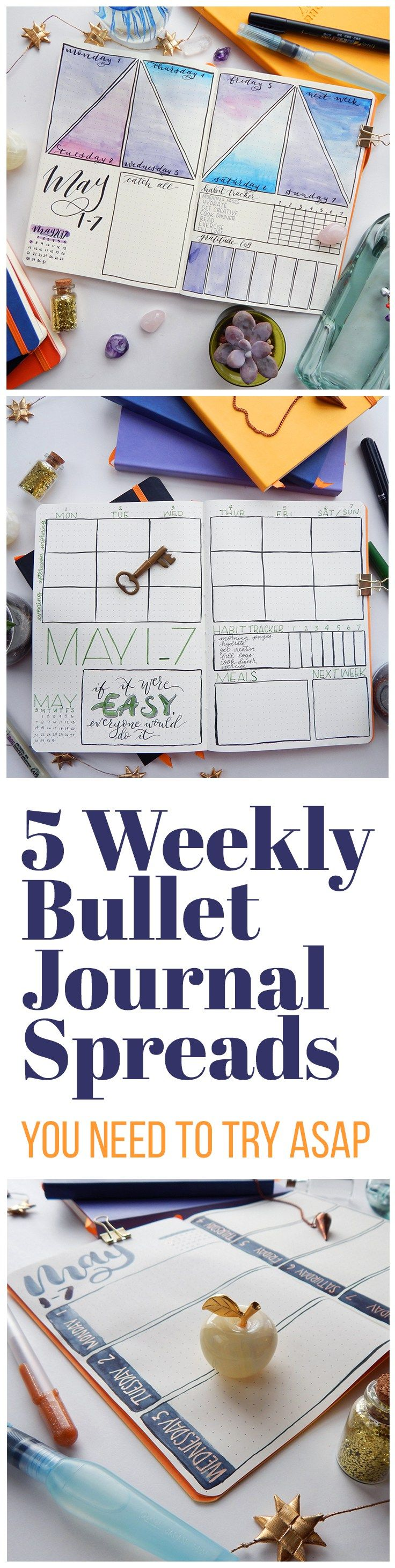 Weekly bullet journal spreads can be extremely useful layouts. Here are 5 to get your creative juices flowing and your planner brain ticking!