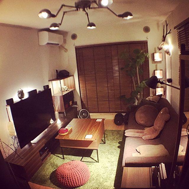 男性の 1r 一人暮らしの 部屋全体 についてのインテリア実例 部屋 インテリア インテリア インテリア 1ldk