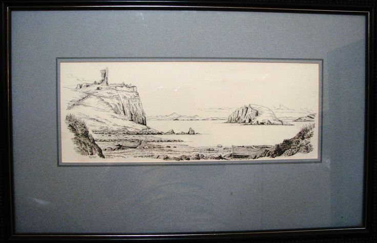 Bill Lawrence ink sketch titled  Duntulm Castle from Port Duntulm & Tulm Island