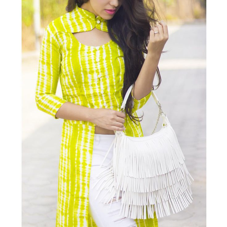 """Aakriti Rana   La Chica Loca on Instagram: """"Get this long top from @missa_more_clothing! Styled the outfit with white denims and my new white fringe bag from @stalkbuylove"""""""