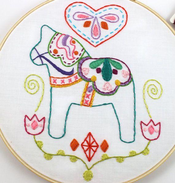 Dala Horse Love Swedish Scandinavian Embroidery by lovahandmade