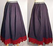 This antique Victorian era blue red plaid wool winter petticoat skirt dates from the 1890s.