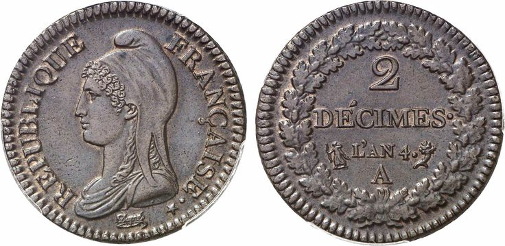 Directoire, 1795-1799. 2 Decimes An 4 A (Paris mint). Obv: Marianne bust left. Rev: Value and date within wreath. Copper. 19.78 grams. Gad. 300. Uncirculated. Trace of red mint, struck on a large planchet.