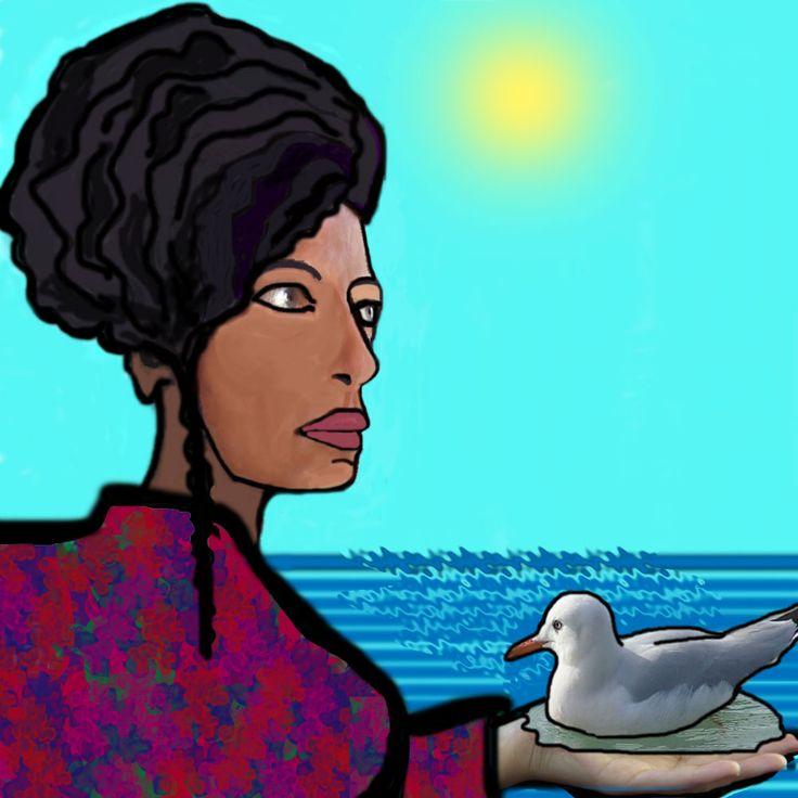 Io e il gabbiano illustrazione di una poesia