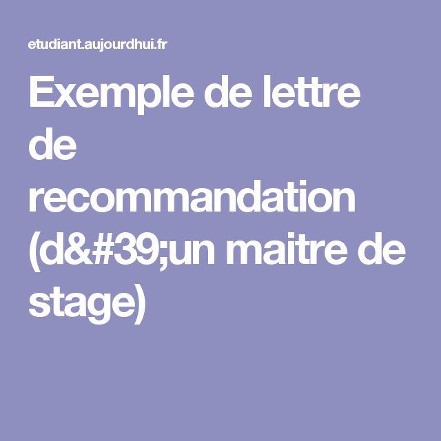 Exemple de lettre de recommandation (d'un maitre de stage)