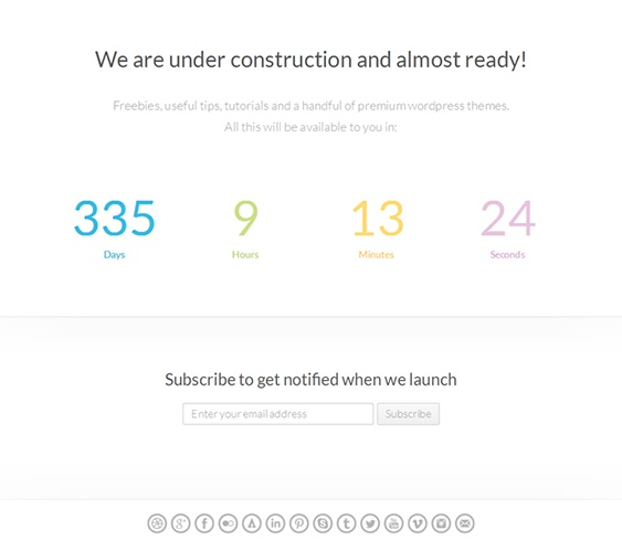 This responsive coming soon template includes Campaign Monitor and MailChimp integration, a minimalist design, your choice of progress or countdown mode, and more.