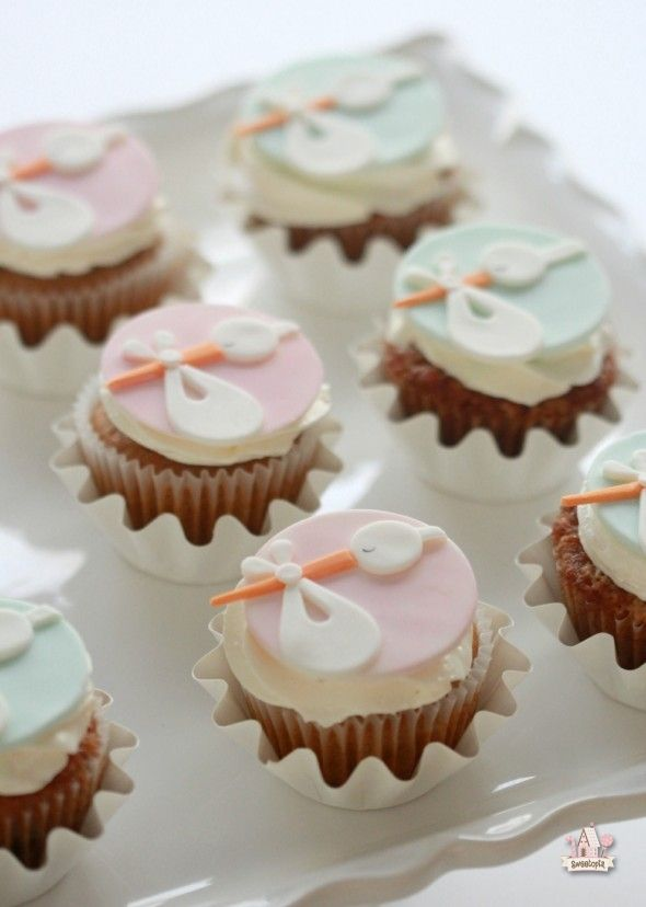 Stork Cupcake Toppers | Sweetopia - really cute for a baby shower