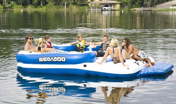 Inflatable Island with built in coolers, drink holders, and (water-proof) sound system!