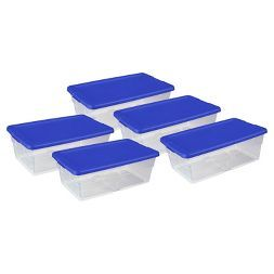 Sterilite5pc Storage Bins Clear with Blue Lid 1.5gal - Room Essentials™