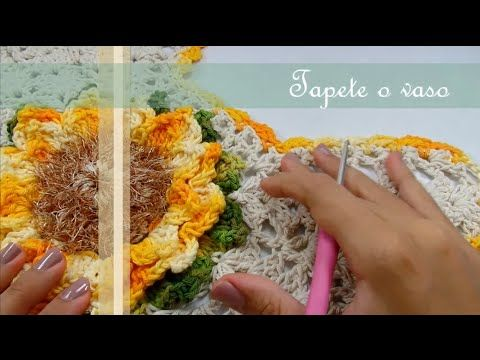 Passo a Passo Jogo de Banheiro Mega Girassol Barroco Tapete do vaso por JNY Crochê - YouTube