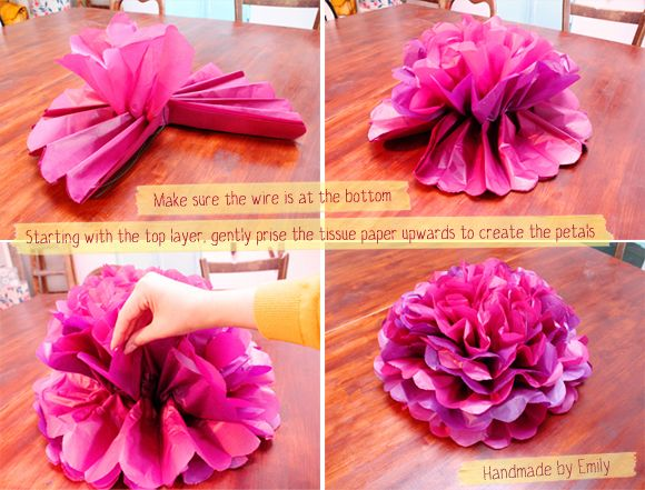 flat poof pom pom flower, tissue paper. Can be made with ...