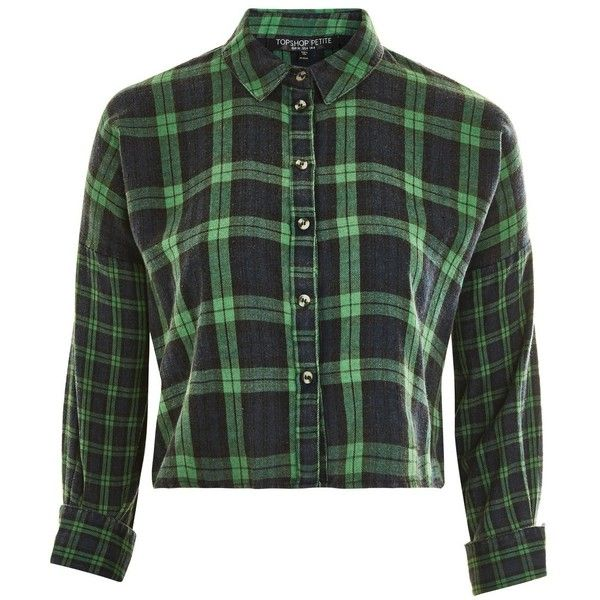 TopShop Petite Cropped Checked Shirt (50 CAD) ❤ liked on Polyvore featuring tops, green, cropped shirts, petite cotton tops, petite tops, green checkered shirt and zipper crop top