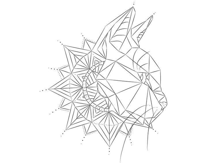 2017 trend Geometric Tattoo - Line geometric cat tattoo design                                                ...