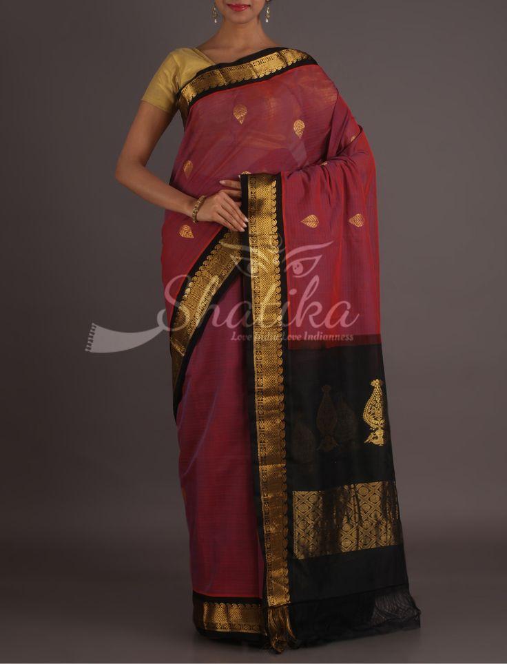 Rupali Maroon And Black Graceful Gadwal Pure Cotton Saree