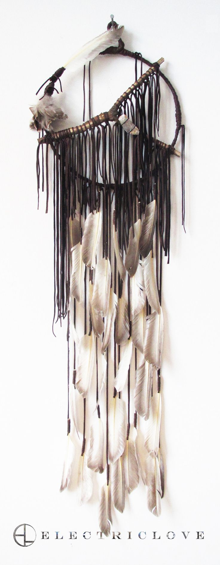 """Sunking Series - 14"""" ring Sunking in Dusk Brown with Natural Vintage Feathers, Carved Branch and Quartz Crystal"""