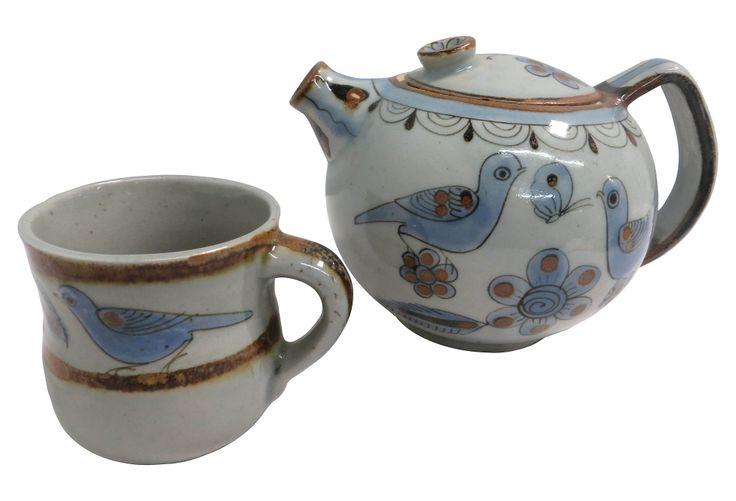 West Coast Vibe - Mexican Pottery Teapot & Mug