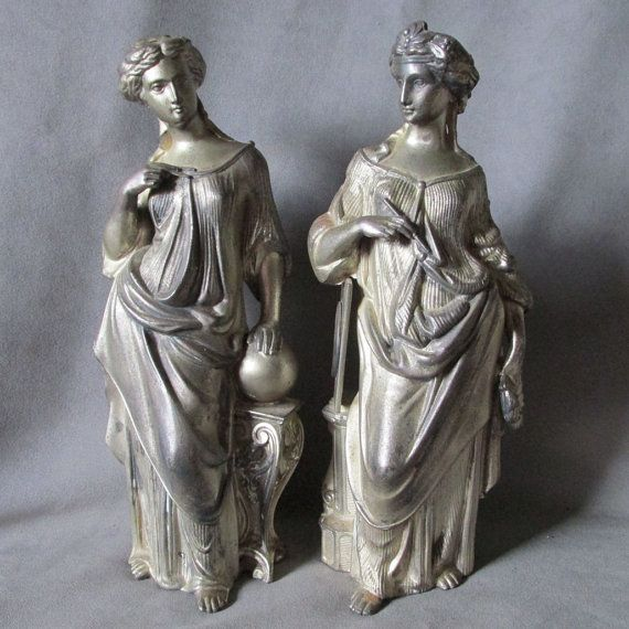 Pair Antique  19thC Victorian Sculptures of Lovely by Neatcurios