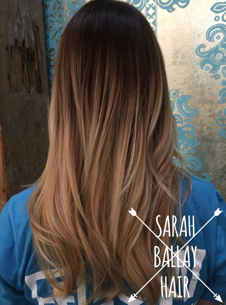 Gorgeous ombre. Dark chocolate brown melting into a mix of natural and warm blonde