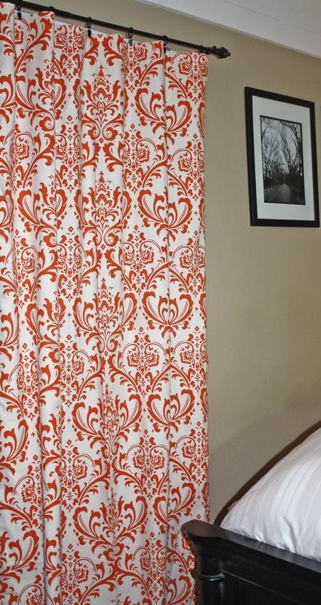 orange print curtains to go with my future blue room heart of the home pinterest. Black Bedroom Furniture Sets. Home Design Ideas