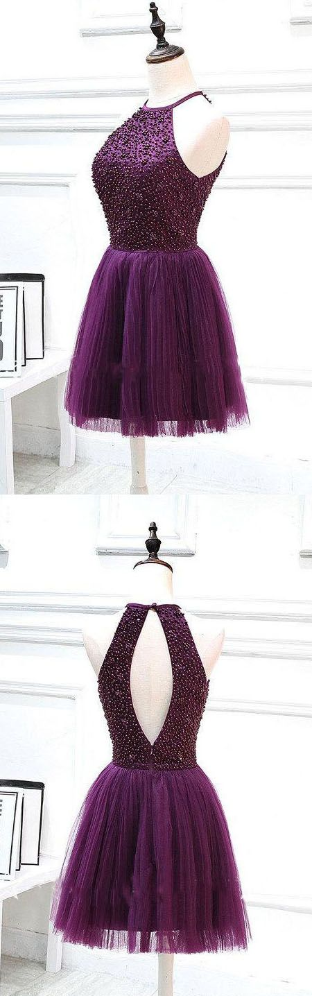 Purple Halter Neck Keyhole Back Short Homecoming Dress. We offer homecoming dresses, dresses for teens, freshman homecoming dress, whether you like short or long dresses, whether you prefer vintage or modest, simple or boho, we have all styles! And also we can make the dresses in any color you like: red, black, maroon, purple, blue, green, burgundy, navy, white…Shop your homecoming dress at #junebridals.com now and save up to 70%!