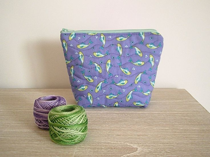 makeup pouch with fish pattern - purple cosmetic bag - minty green toiletry pouch - quilted zippered makeup bag for teenager girl for woman (28.00 AUD) by greylittlemouse - bags, celine, givenchy, pack, travel, cosmetic bag *ad