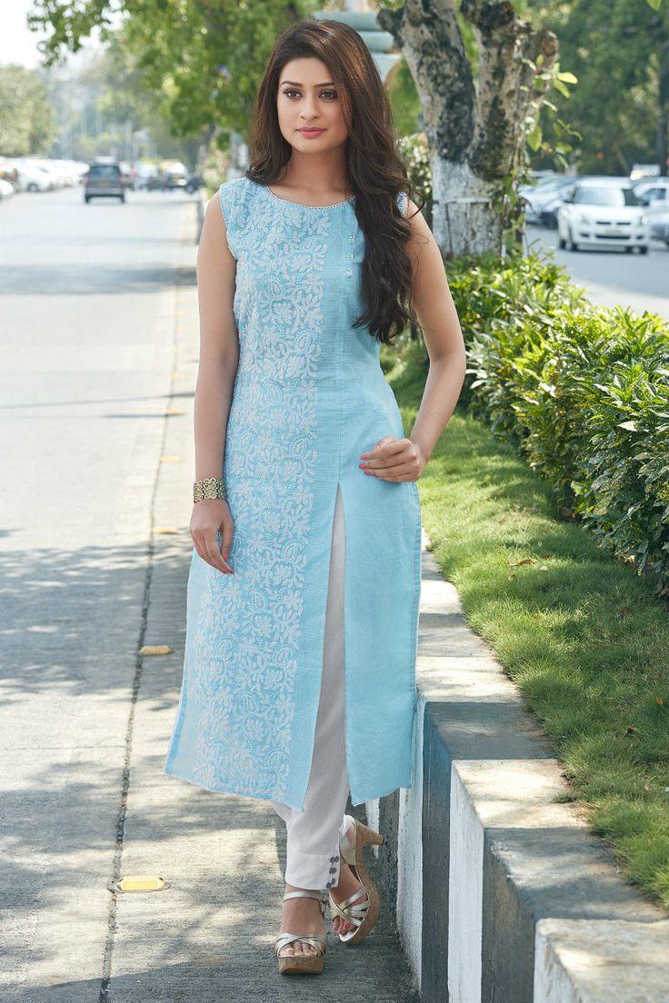 Shanaya Blue Supernet (Kota Doriya) Straight Kurti / Kurta | eBay