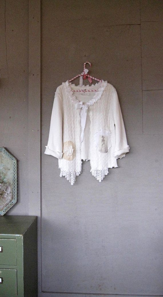 MXL upcycled clothing shrug Romantic white by lillienoradrygoods, $49.50