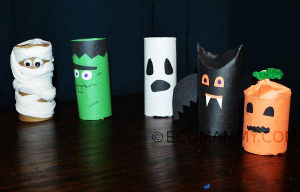 Поделки на Хэллоуин с ребенком: украшения на Хэллоуин из рулонов от бумаги