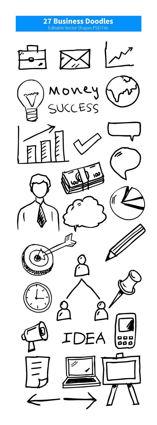 27 Business Doodles (Vector PSD) 손그림 아이콘 (Vector PSD)