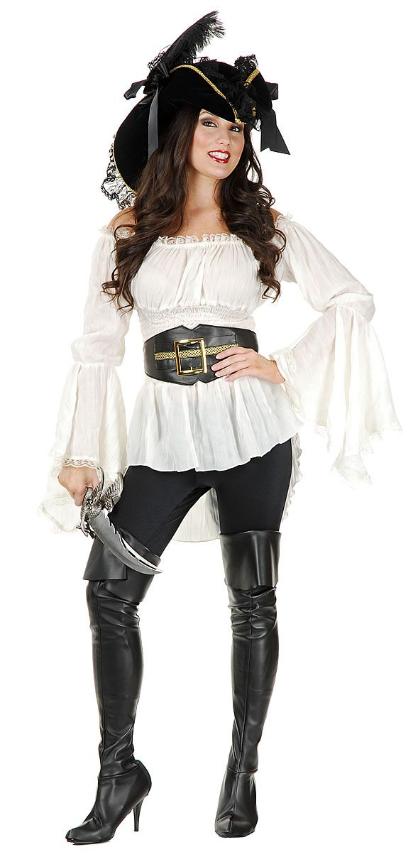 dress costumes store pirate lady vixen blouse adult pirates female - Pirate Halloween Costumes Women