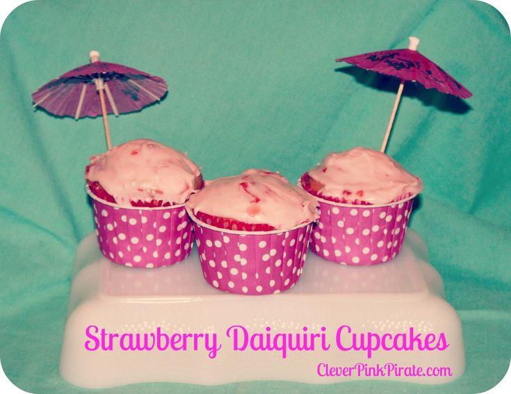 Strawberry Daiquiri Cupcakes with fresh strawberries