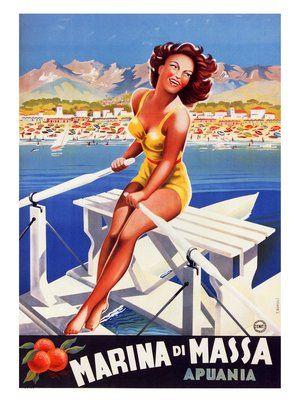Vintage Italian Posters ~ #illustrator #Italian #vintage #posters ~ marina-di-massa-italian-travel-poster-1949