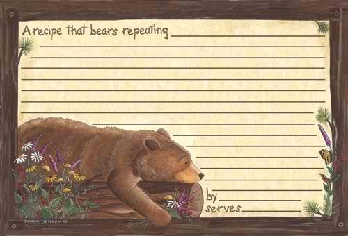 Lazy Bear Recipe Cards. 4x6