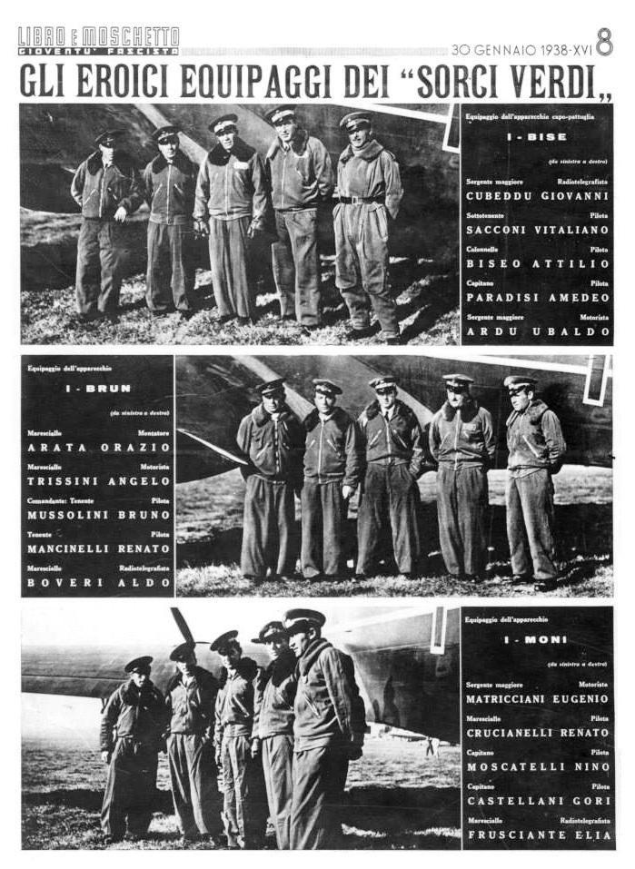 """La pagina di """"Libro e moschetto"""" con le foto degli equipaggi della trasvolata atlantica Roma – Dakar – Rio de Janeiro (24 – 25 gennaio 1938)"""