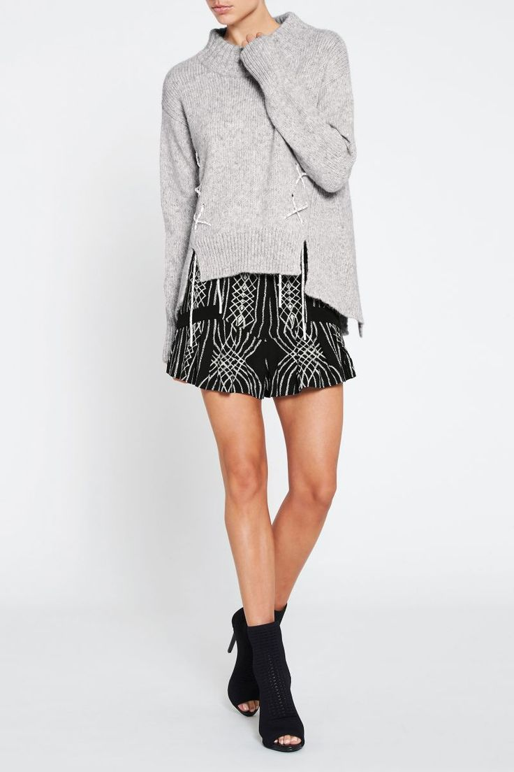 Sass and Bide - Beautify And Behold Lace Up Jumper Grey Marle